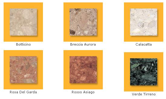 davanzali esterni in agglomerato di marmo